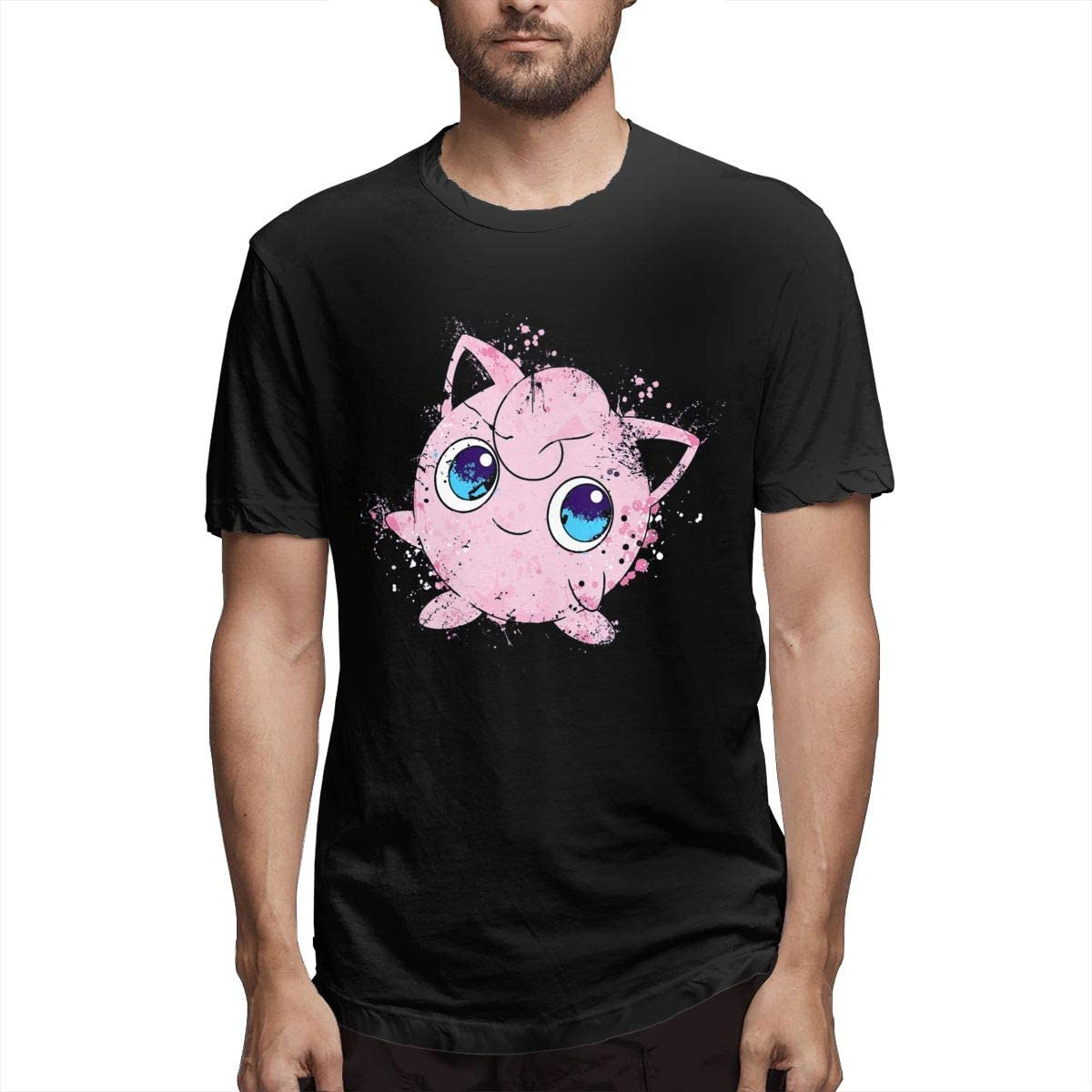 ERDONE Poke Jigglypuff Splatter Paint Mens Tee Fashion Short Sleeve T-Shirt Black
