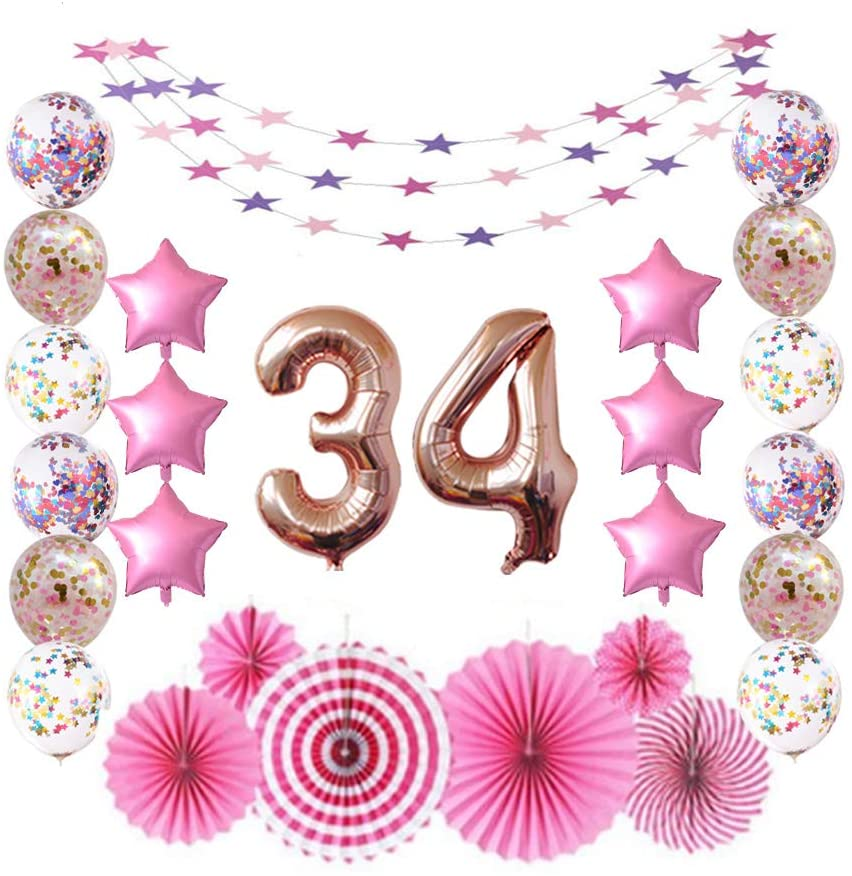 34 Rose Gold Number Foil Balloons for 34th Birthday Party Sign Supplies, Adult Men/Women's 34 Years Old Birthday Party Decorations