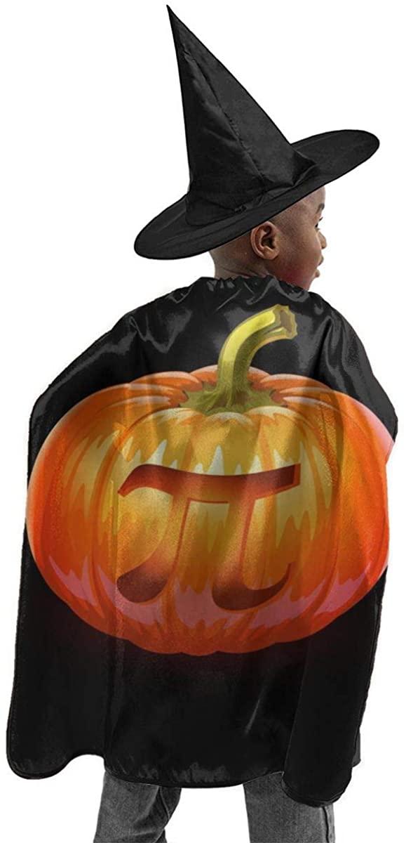 Halloween Costume 2 Pcs Pumpkin Pi Jack O Lantern Horizontal Poster Halloween Wizard Hat Cape Cloak Boy and Girl Party Costume Black