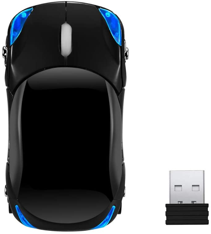 Garrulax 2.4G Wireless Portable Mobile Car Mouse Optical Mice with USB Receiver for Notebook,PC,Laptop,Computer (Black)