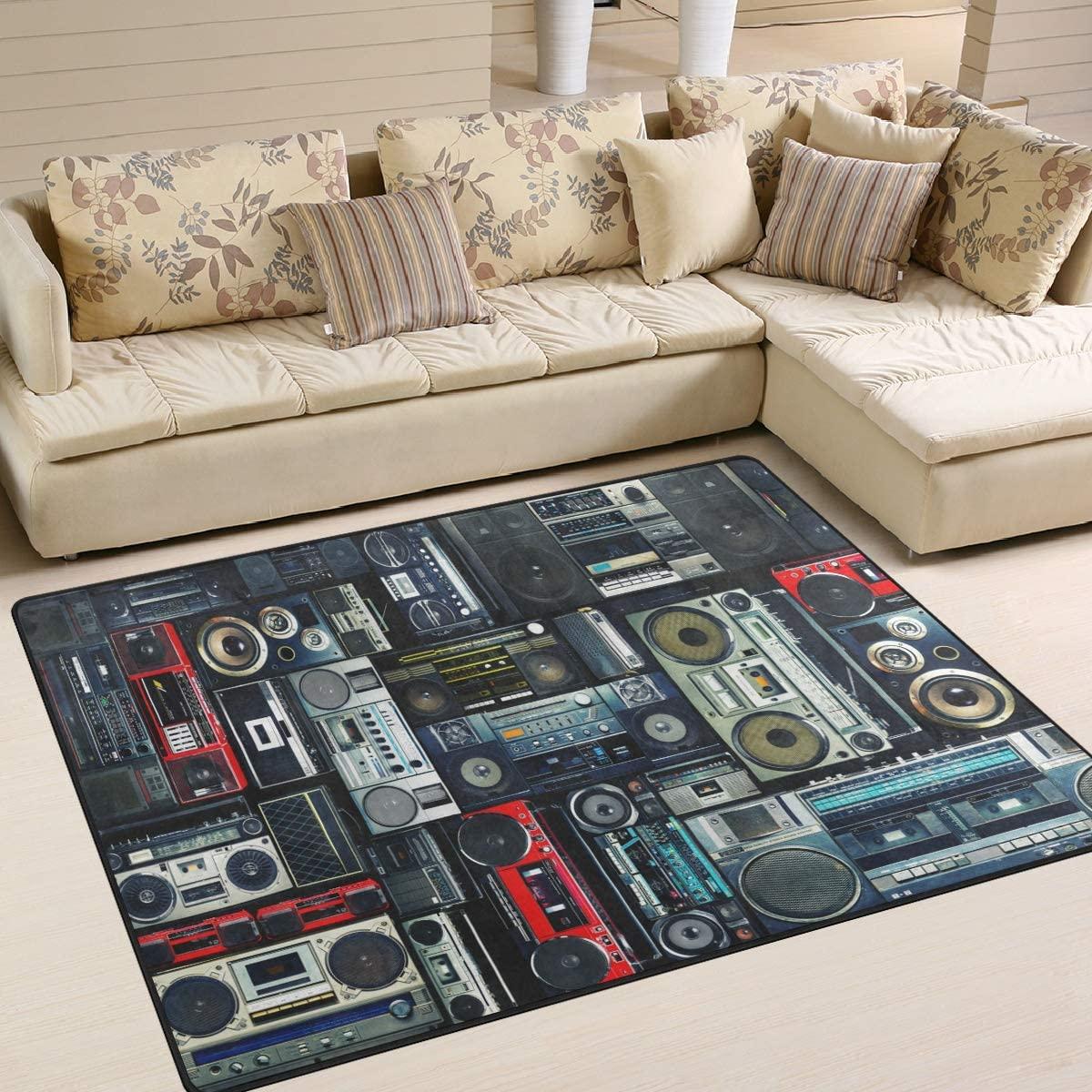 ALAZA Vintage Stylish Radio Boombox Music Area Rug Rugs for Living Room Bedroom 5'3