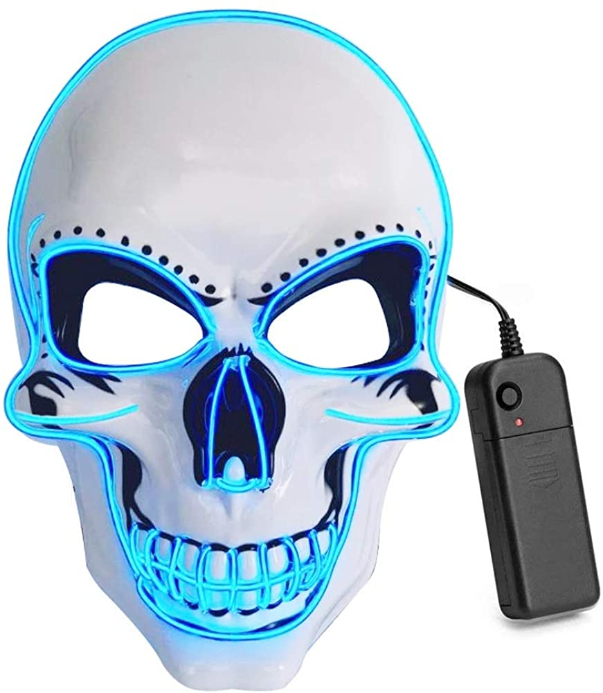 Weanas Halloween Scary Death Skull LED EL Wire Light Up Frightening Purge (Ice Blue)