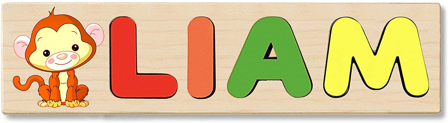 Wooden Name Puzzle Personalized, Gift for Baby or Toddler, Handmade in The USA. Baby Monkey Theme