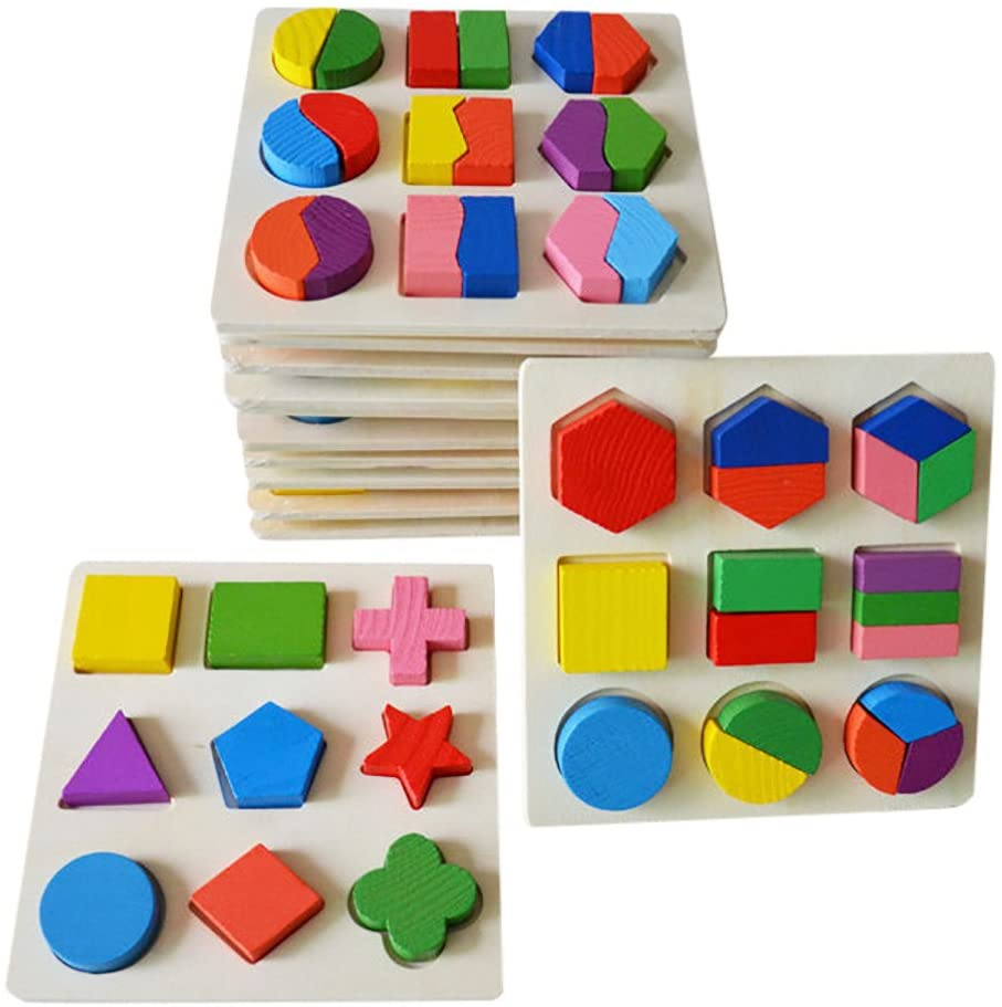 MKLEKYY Wooden Preschool Colorful Shape Puzzle,Early Learning Geometry Building Blocks Educational Toy (C)