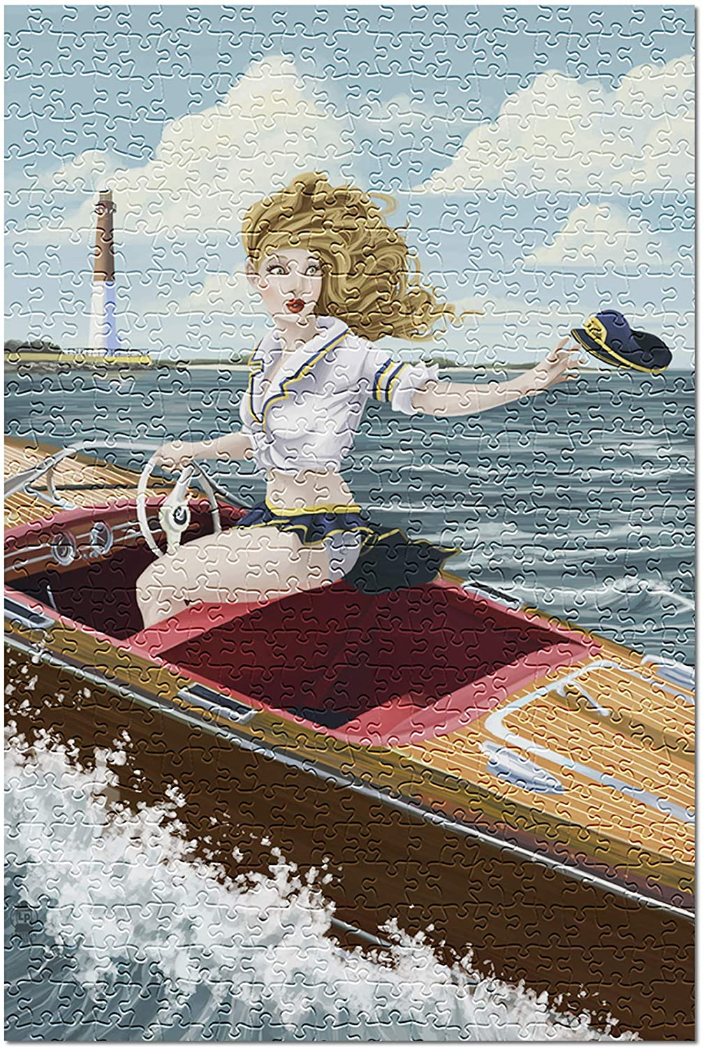 Pinup Girl Boating (Premium 500 Piece Jigsaw Puzzle for Adults, 13x19)