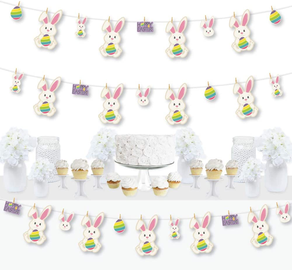 Big Dot of Happiness Hippity Hoppity - Easter Bunny Party DIY Decorations - Clothespin Garland Banner - 44 Pieces