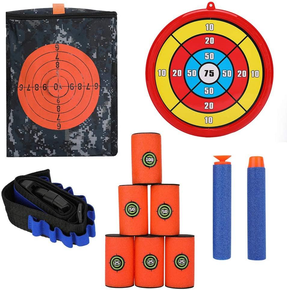 FTVOGUE Target Shooting Pouch Storage Bag Foam Can Target Belt Clip Soft Foam Bullets Kit for Nerf Gun Tactical Games (Combo 2)