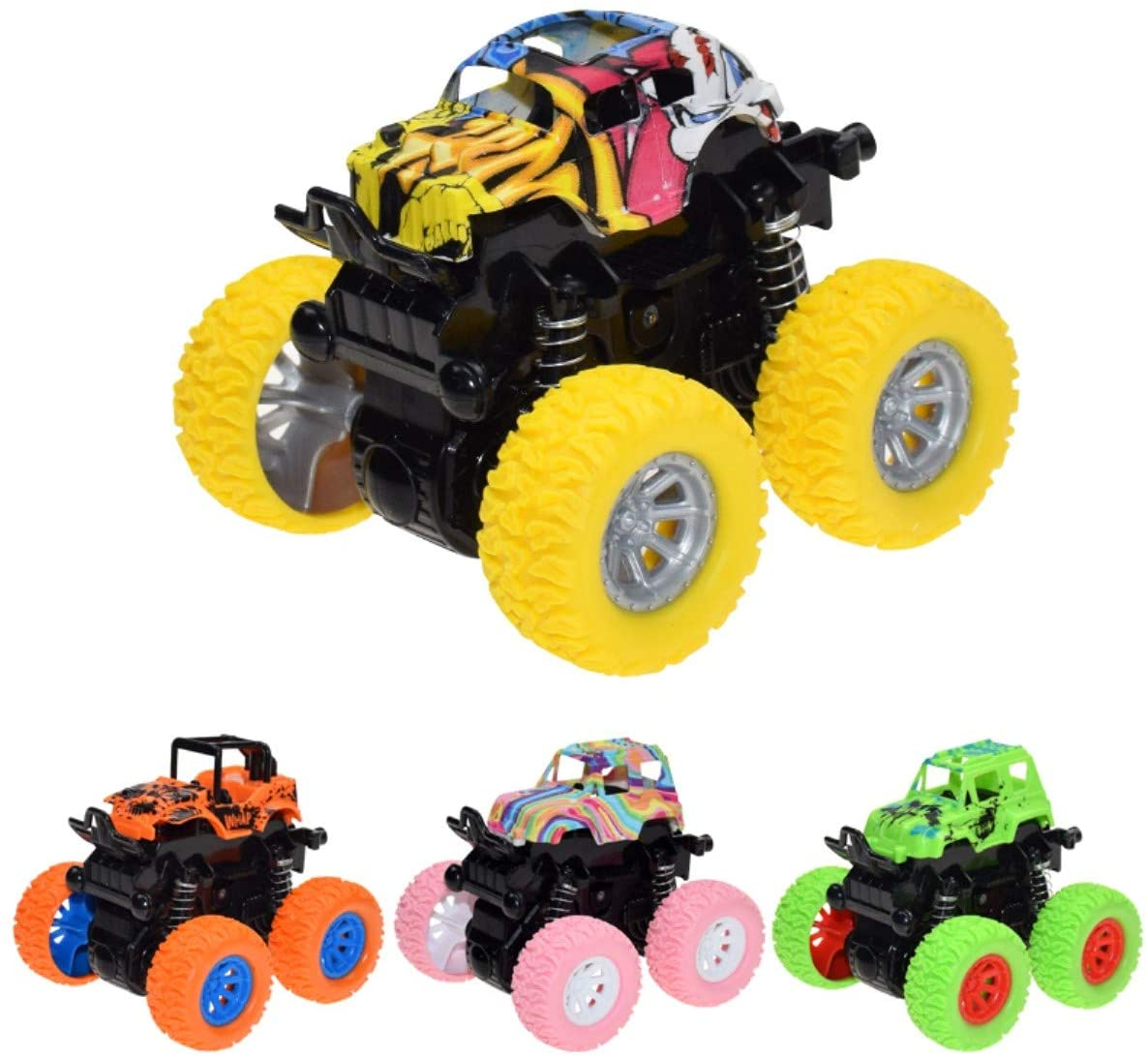 davidamy's gift Transforming Pull Back Model Car, Four-Wheels Drive Off-Road Vehicle, Tipping Stunt Inertial Off-Road Vehicle, Kids Toy (4pcs Set B (one Each Color))