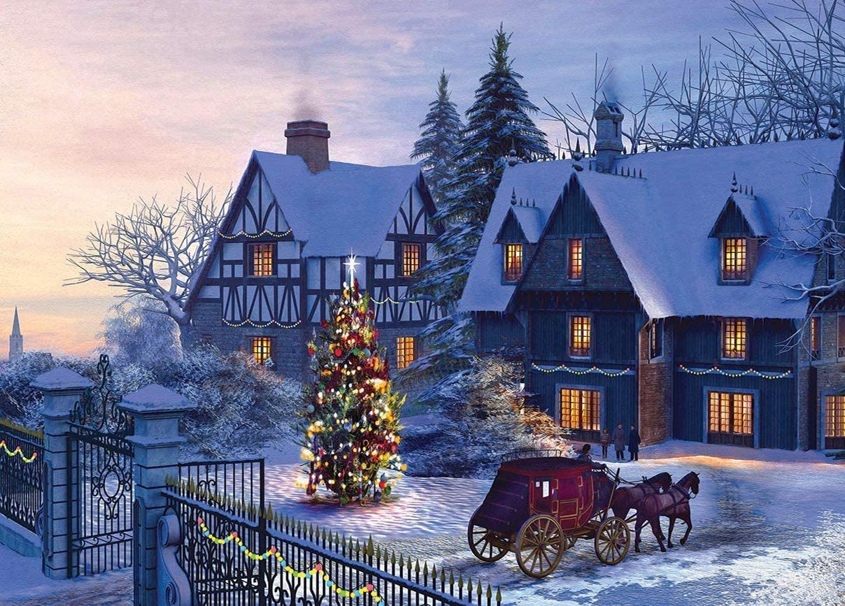 Koyiwa 1000 Pieces Jigsaw Puzzle for Adults, Christmas Country Snow Scene Carriage, Medium Difficulty Fun Gift, Decoration Puzzles (27.56 x 19.69 inch)