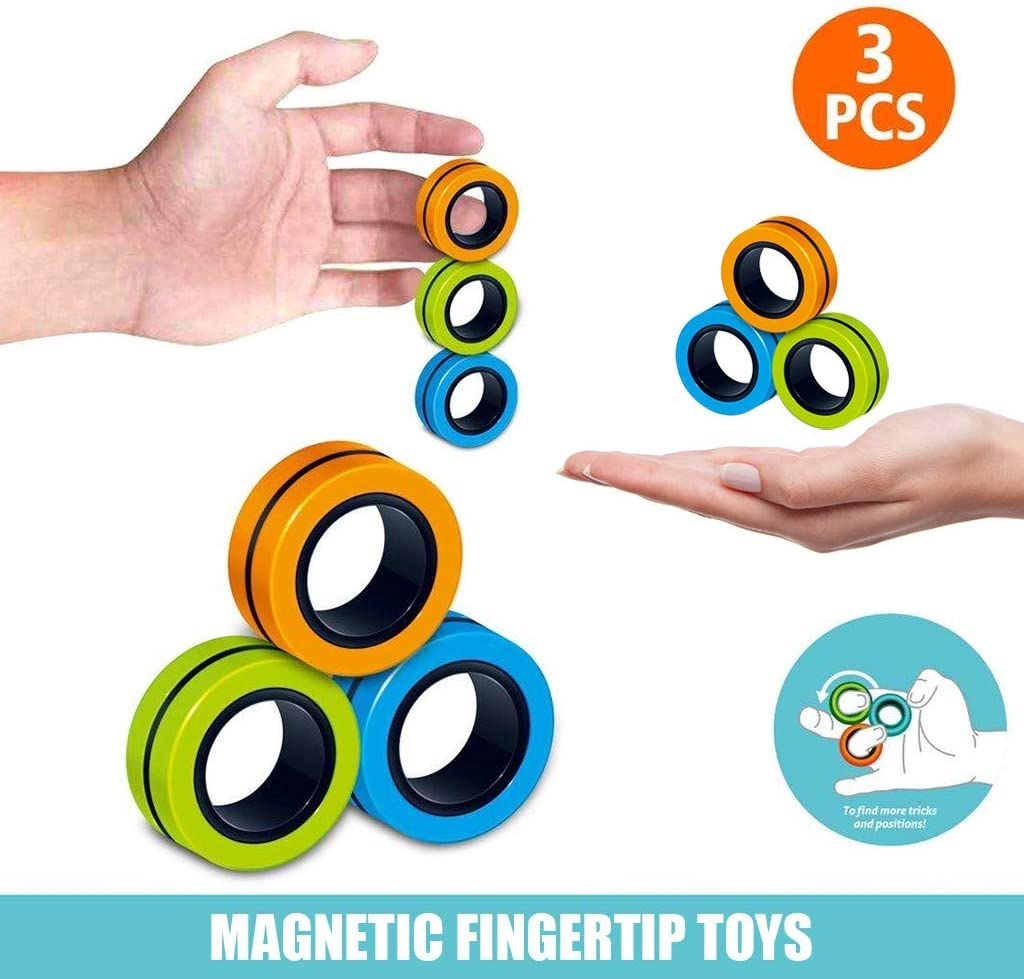 3pcs Magnetic Ring, Magnetic Finger Tip Toys, Decompression Magnetic Toys, Magnetic Bracelet, Magic Ring Game, Magnet Toy, Finger Game for Adults Kids