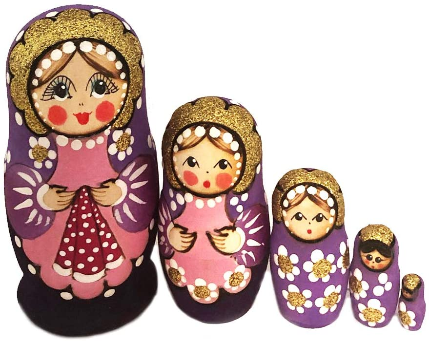 Russian Nesting Dolls 5 Pcs Matryoshka Purple Pink Holding Handkerchief Hand Carved Hand Painted 4 Inch