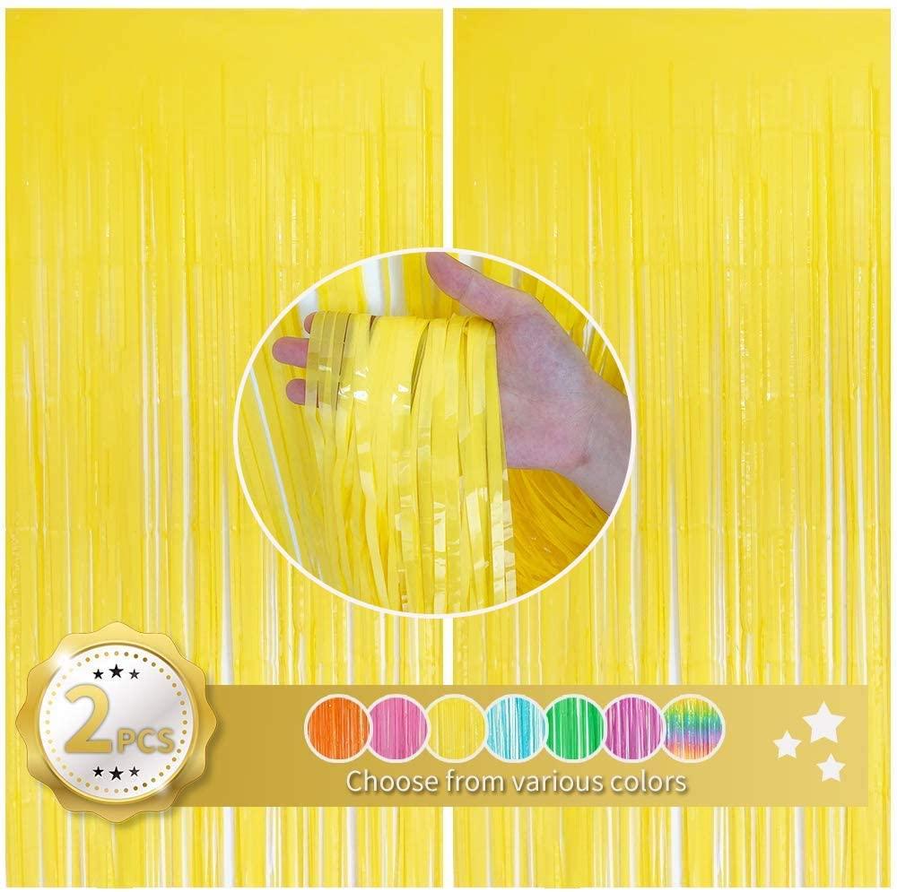 BEISHIDA 2 Pack Foil Fringe Curtain,Macaron Yellow Tinsel Metallic Curtains Photo Backdrop for Wedding Engagement Bridal Shower Birthday