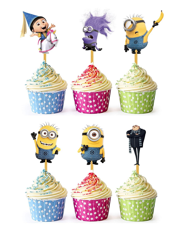 24x Cupcake Topper Picks (Minions Despicable Me)
