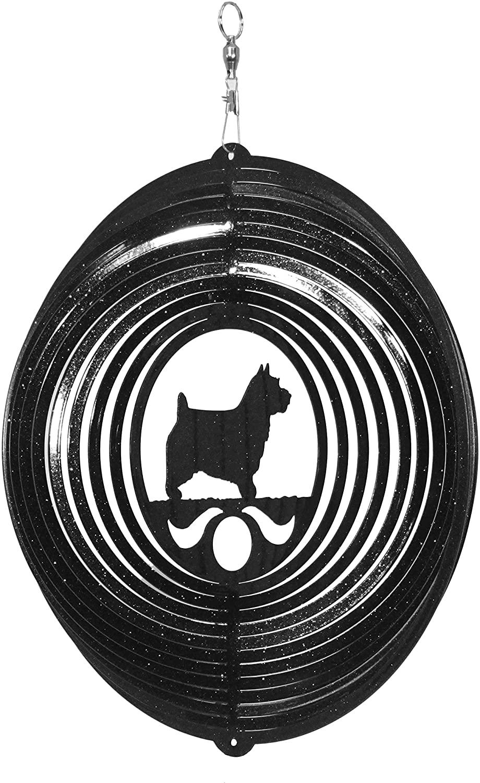 SWEN Products Norwich Australian Terrier Circle Swirly Metal Wind Spinner