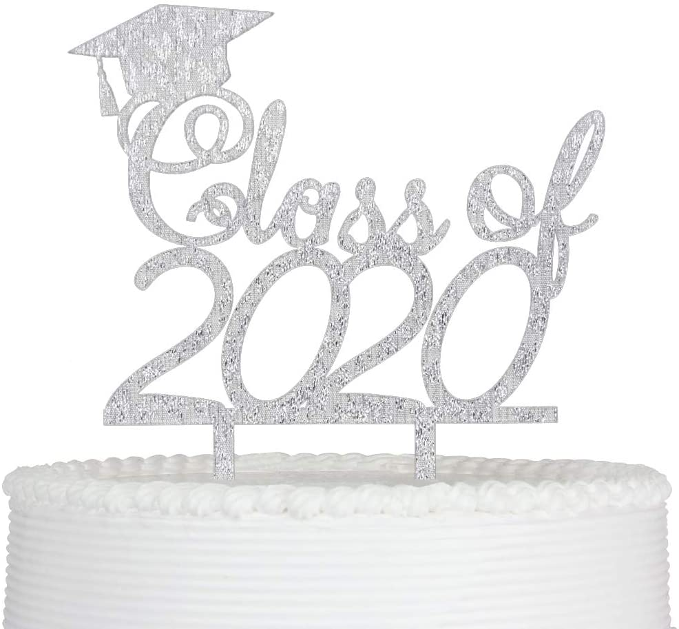Class of 2020 Cake Topper, Congrats Grad Cake Topper for Graduation Party Decorations Graduate Supplies (Silver)