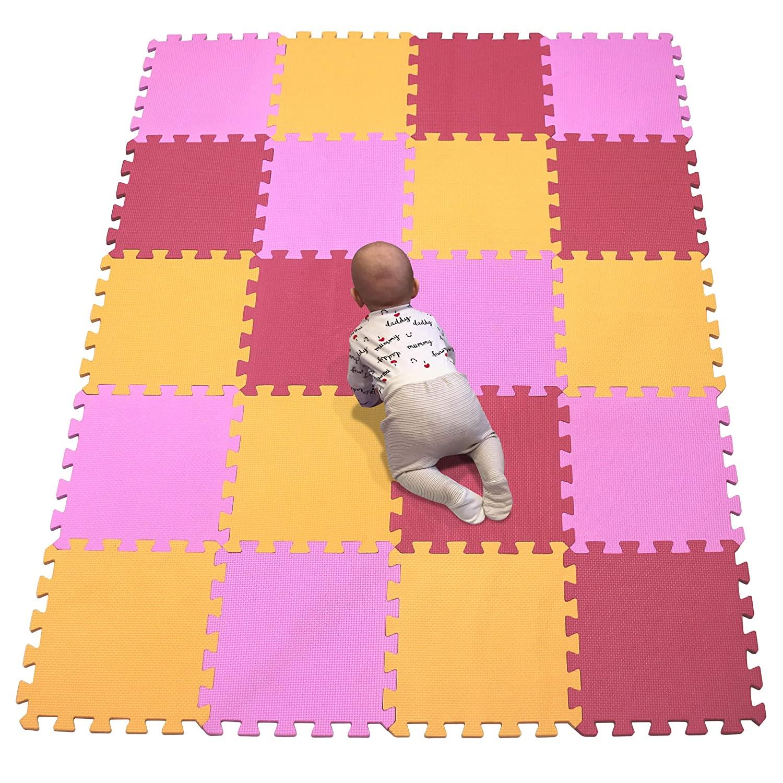 YIMINYUER Interlocking Floor Foam Mat, Living Room Kids Playmat Gardan Yoga Exercise Gym Gymnastic Children's Bed Room Equipment Soft Foam Tiles Orange Pink Red R02R03R09G301020