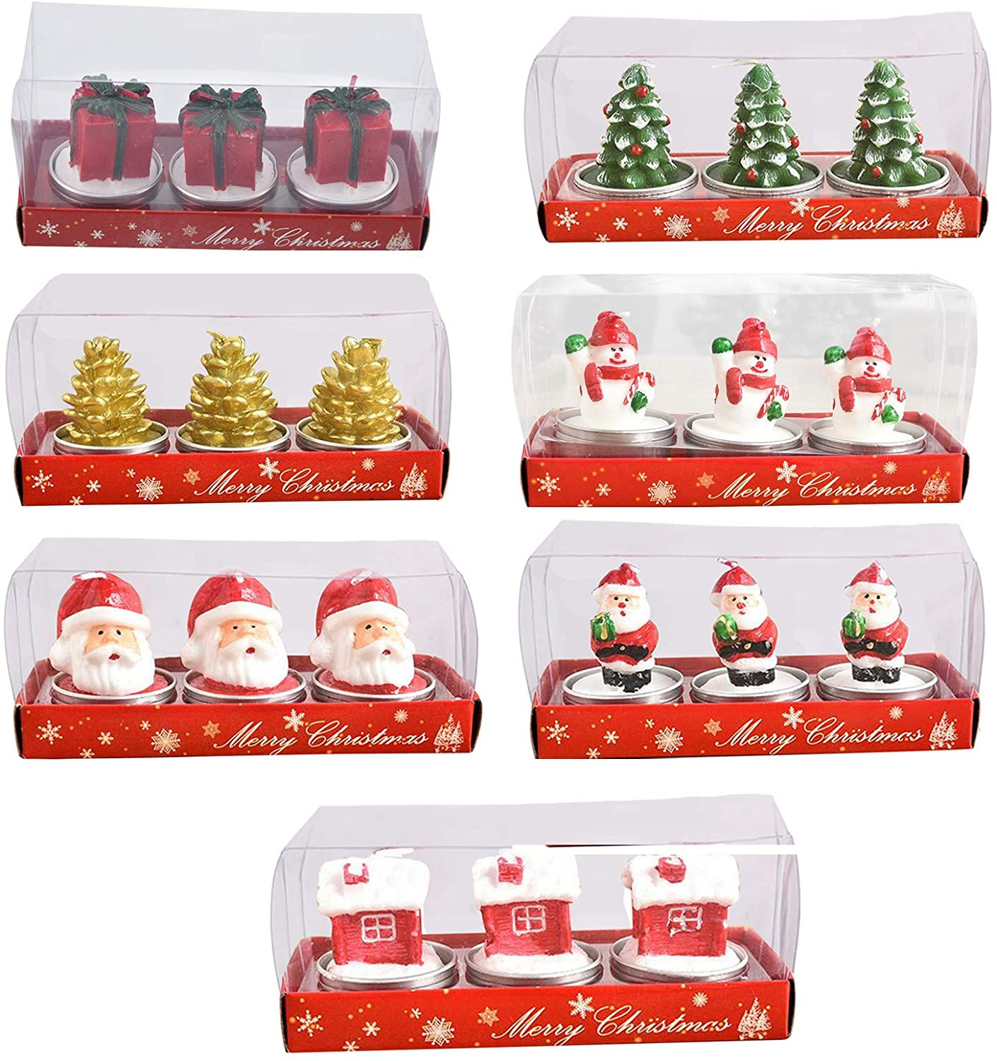 milkcha 7 Design Christmas Candle Painted Decoration Holiday Candle for Candles Festival Wedding Props and House-Warming Party Three in A Box 7PCS