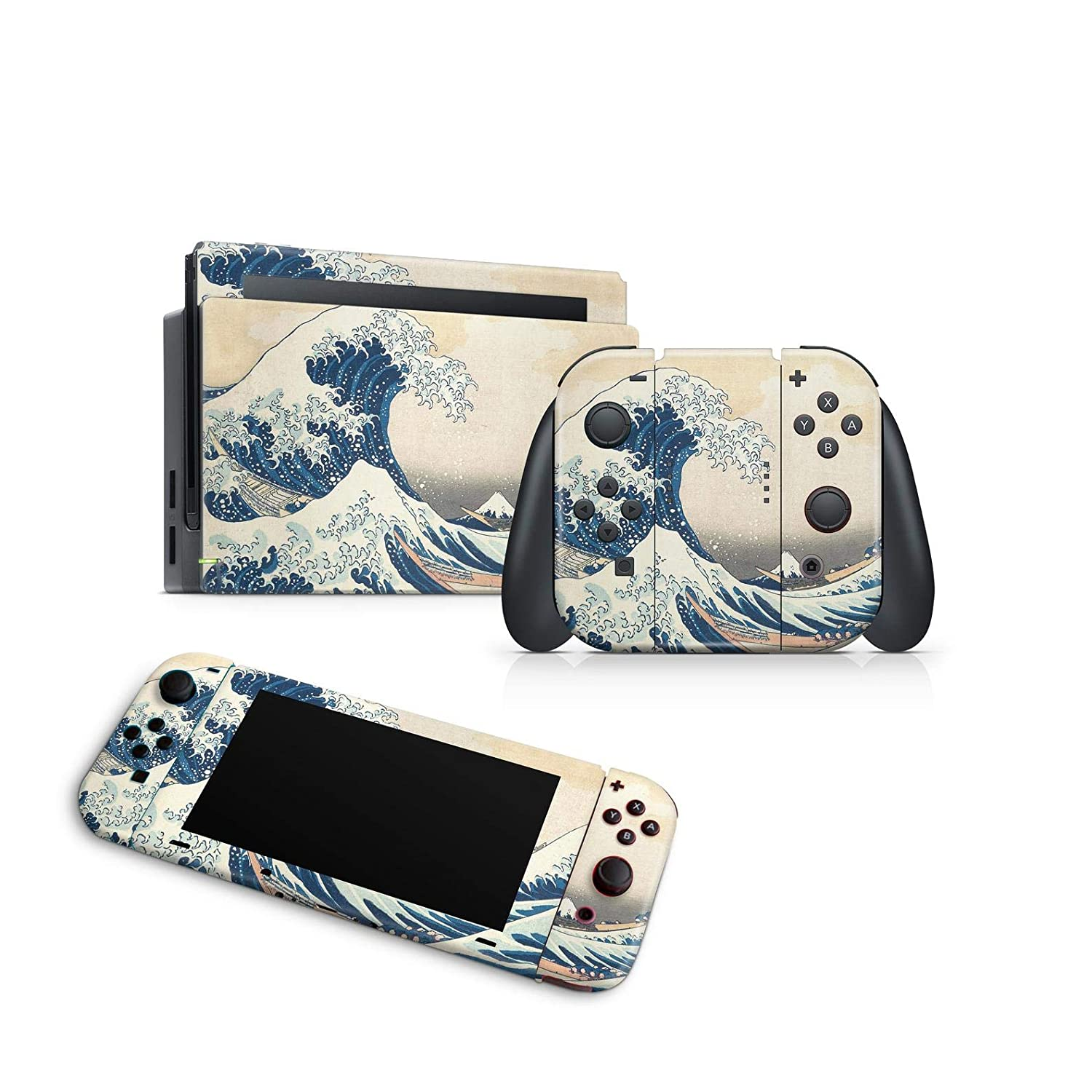 ZOOMHITSKINS Art Asian Wave Storm Surge Ripple Ocean Stream Hurricane Japan, High Quality Decal Sticker Wrap, Nintendo Switch Compatible, Made in the USA