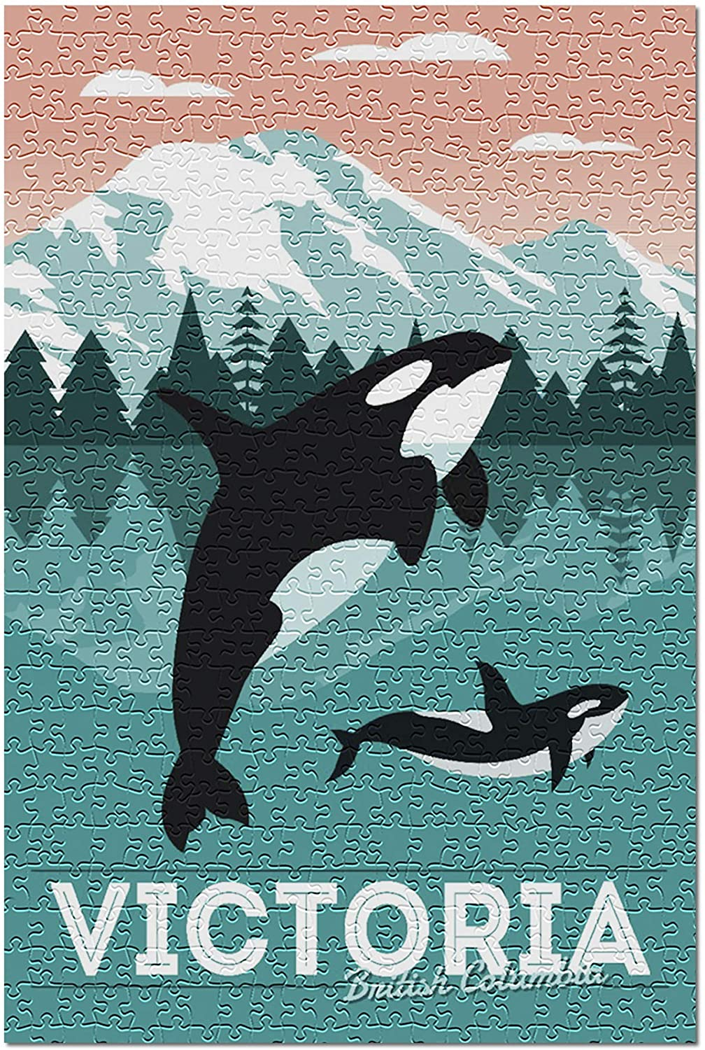 Victoria, British Columbia - Orca Whale and Calf - Vector 98524 (Premium 500 Piece Jigsaw Puzzle for Adults, 13x19, Made in USA!)