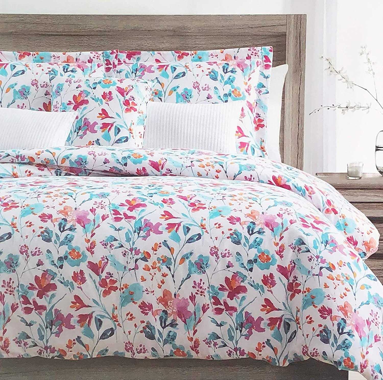 Harlow Bedding 3 Piece Duvet Cover Set Floral Wildflower Pattern in Shades of Blue Pink Purple Orange on White (Queen)