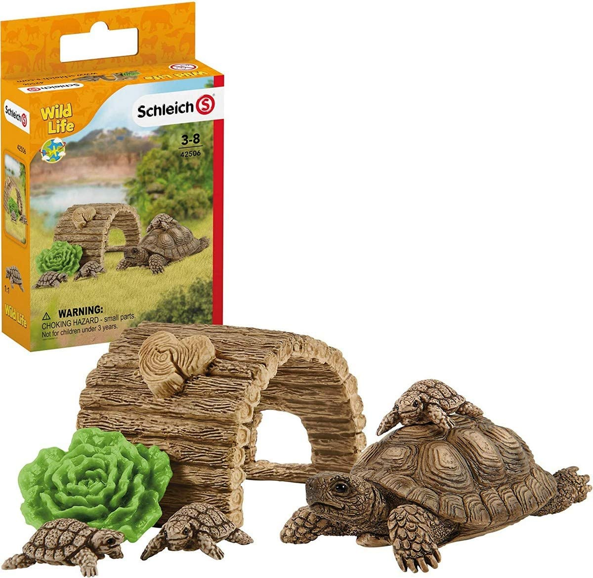 Schleich Wild Life 6-Piece Tortoise Toy Figure with Hatchlings and Turtle Home Playset for Kids Ages 3-8