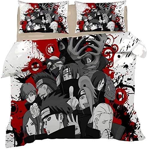 Armida 3 Pcs Naruto Duvet Cover Set Anime Bedding Sets 3D Printing Comforter Set for Boys Queen