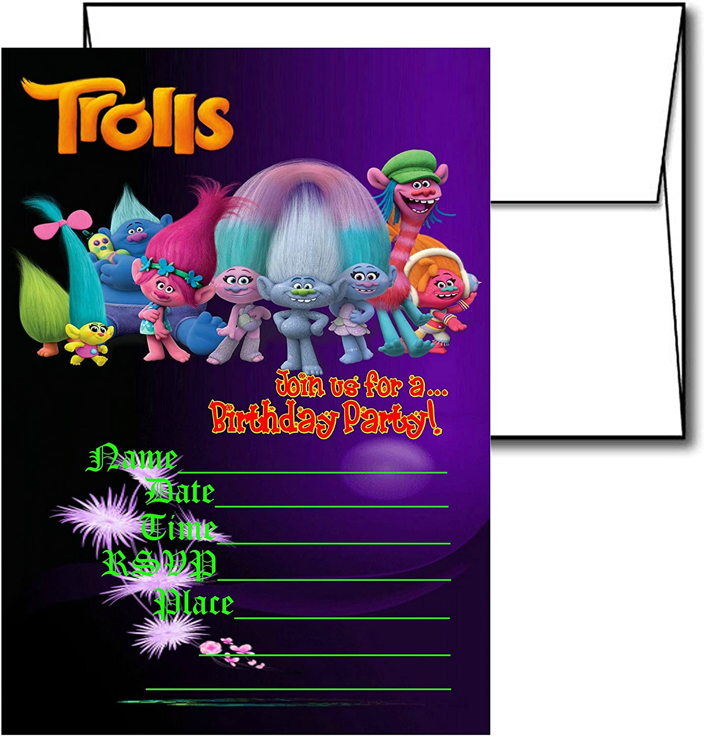 12 TROLLS Birthday Invitation Cards (12 White Envelops Included) #1