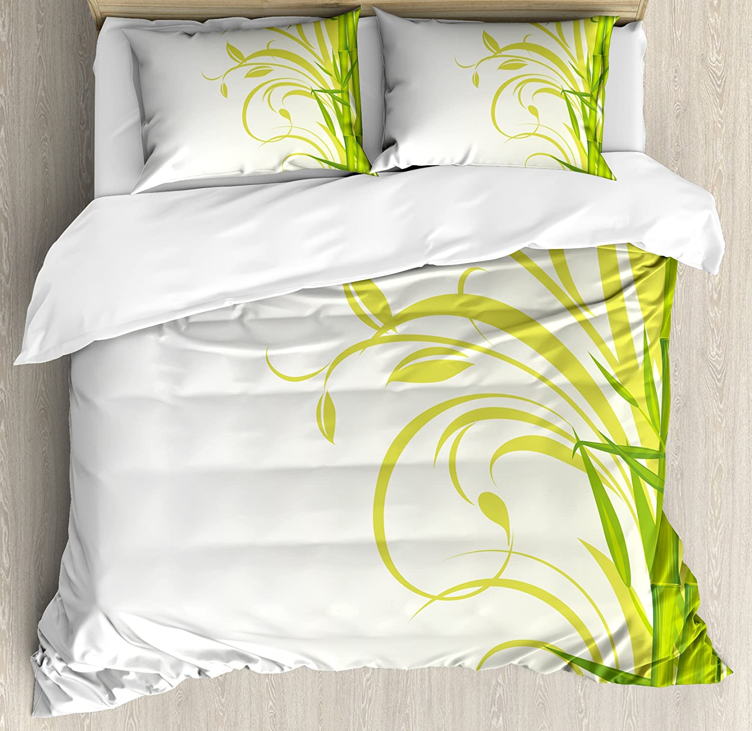Ambesonne Green Duvet Cover Set, Bamboo with Floral Curly Leaves Feng Shui Garden, Decorative 3 Piece Bedding Set with 2 Pillow Shams, King Size, Lime Green