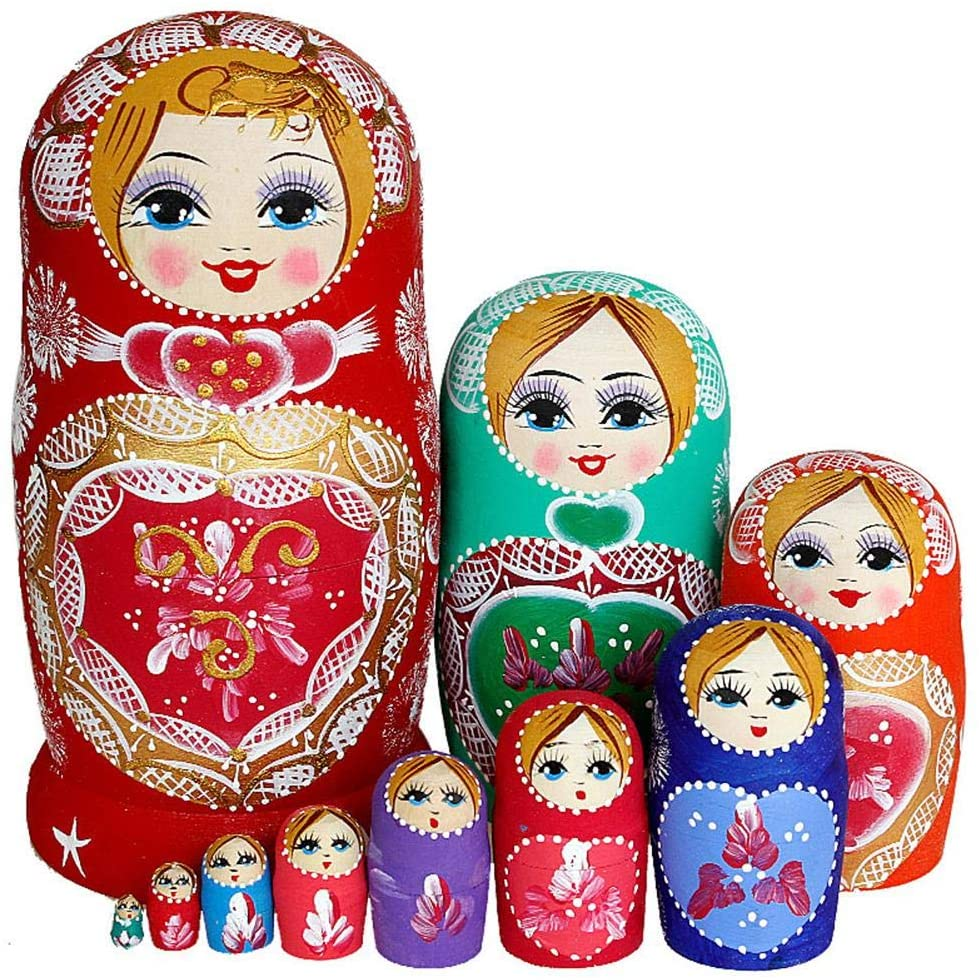 settencas 10Pcs Red Hearts Russian Matryoshka Creative Handmade Painted Elm Cute Doll Sets