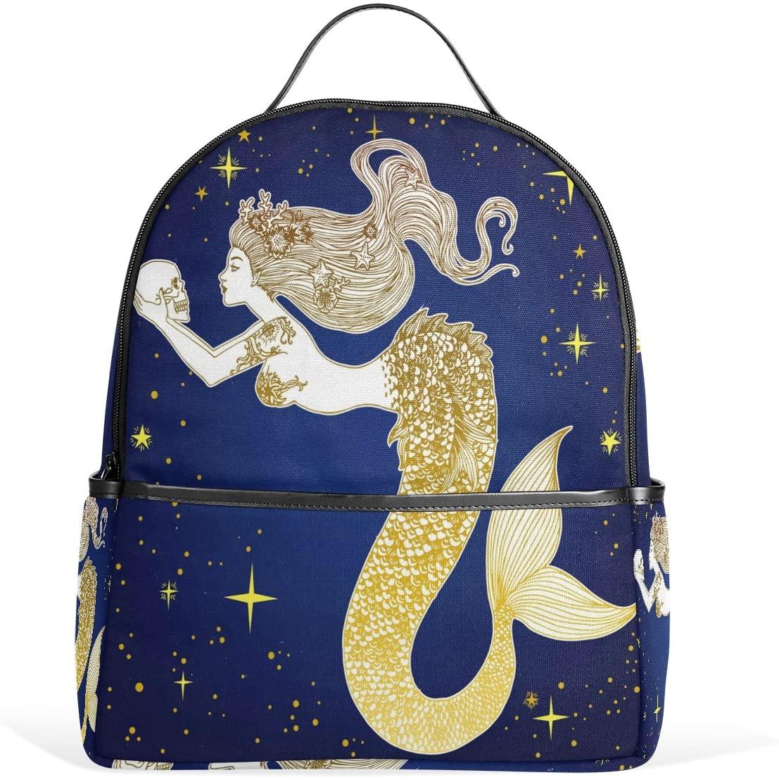 Use4 Mermaid Sugar Skull Polyester Backpack School Travel Bag