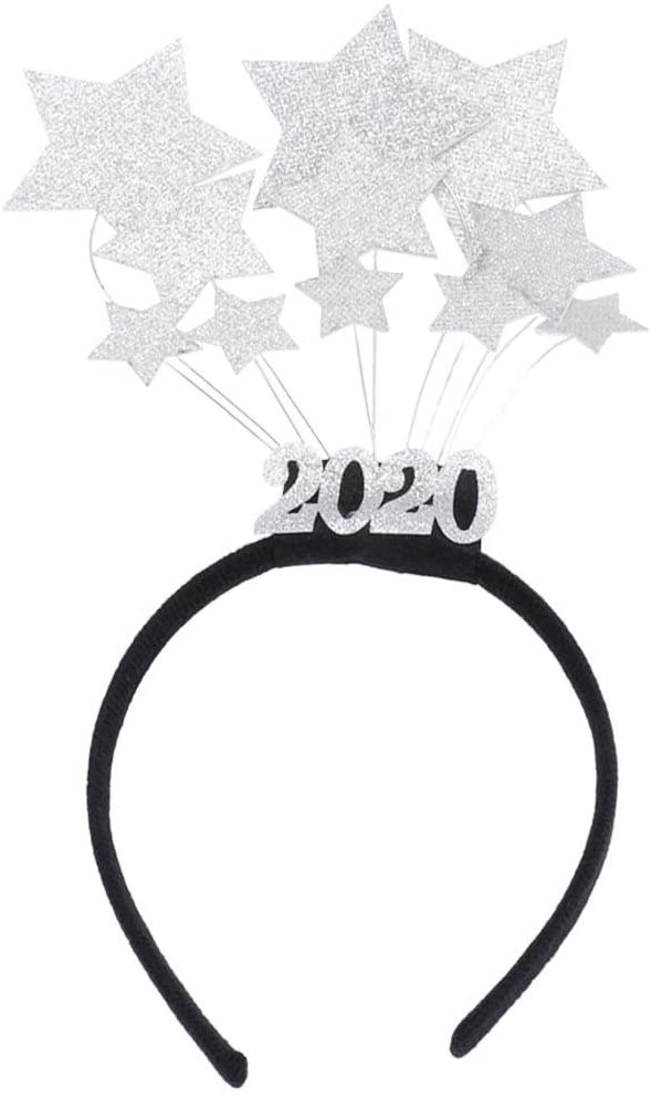 Amosfun 2020 Headbands Glitter Star Head Boppers Happy New Years Headwear for 2020 New Year Eve Party Favors Gifts (Silver)