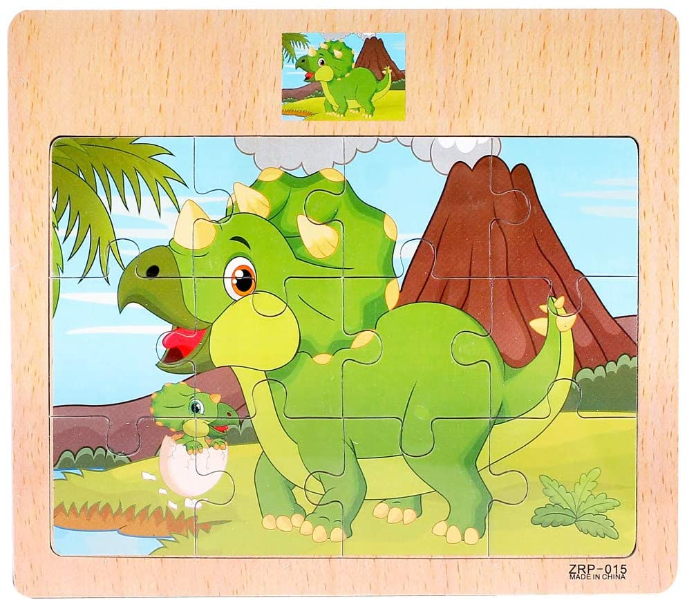 Wooden Jigsaw Puzzles -Unique Jigsaw Pieces Best Gift for Adults and Kids Fit Together Perfectly,Puzzle for Funny Family (17cmX15cm)