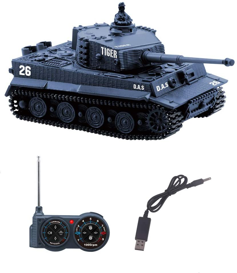 Fun-Here Remote Control Tank with USB Charger Cable Mini RC Army Military Toys Tank 1:72 German Tiger with Sound Artillery Shoots 40MHz (Blue)