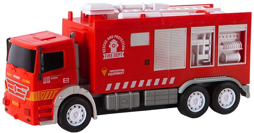 EPFamily Friction Powered Fire Truck Toy Construction Vehicle Kids Toy with Movable Parts for Kids Age 3+