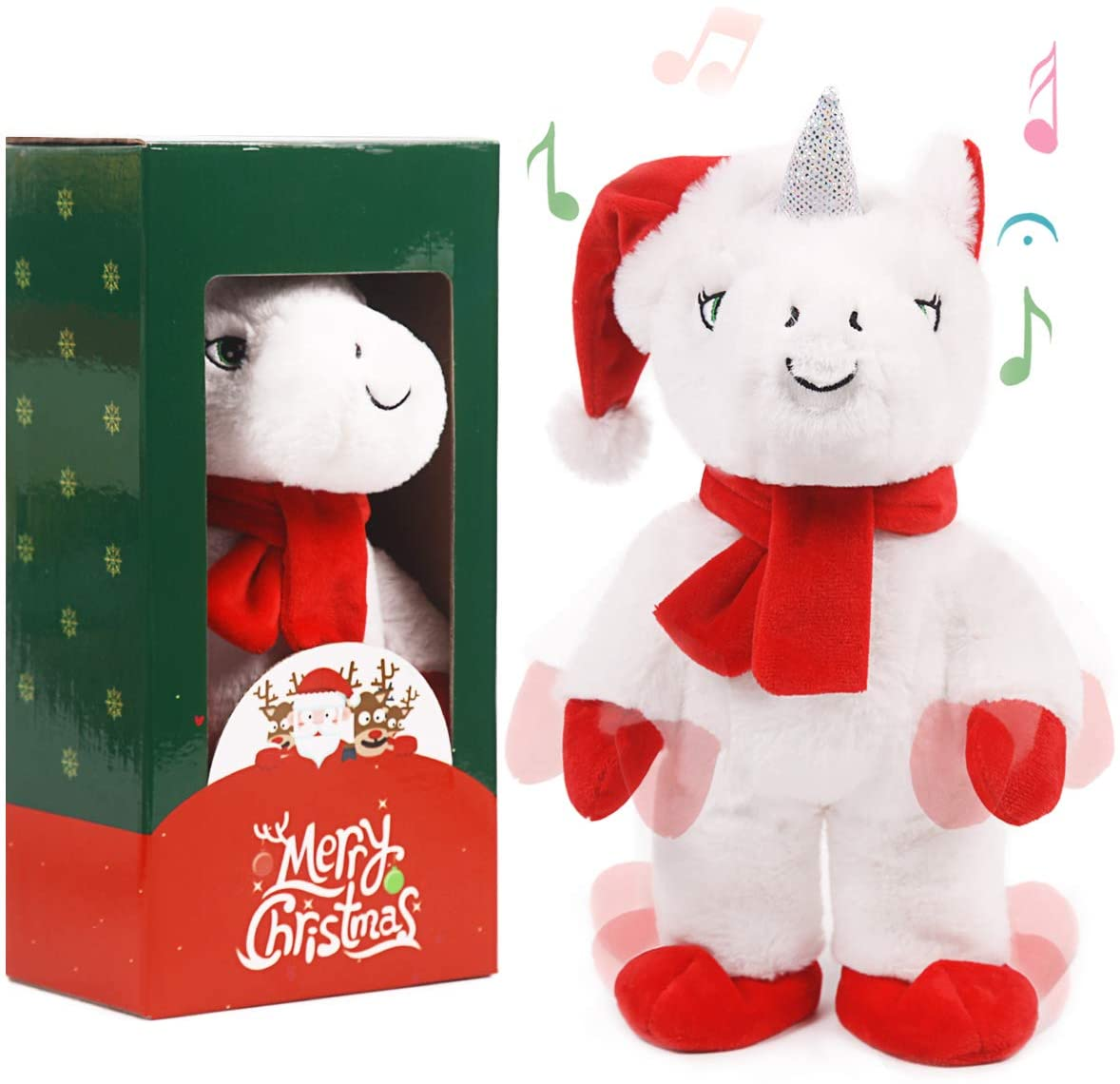 ARELUX Cute Christmas Unicorn Toy,Funny Electric Singing and Dancing Toy,Xmas Ornaments Gift for Kids (White)