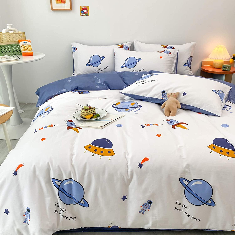 BlueBlue Universe Duvet Cover Set Queen 100% Cotton Bedding for Kids Boys Girls Teens Cartoon Astronaut Constellation Rocket Galaxy Star on White 1 Space Ship Comforter Cover Full 2 Pillowcases, Queen