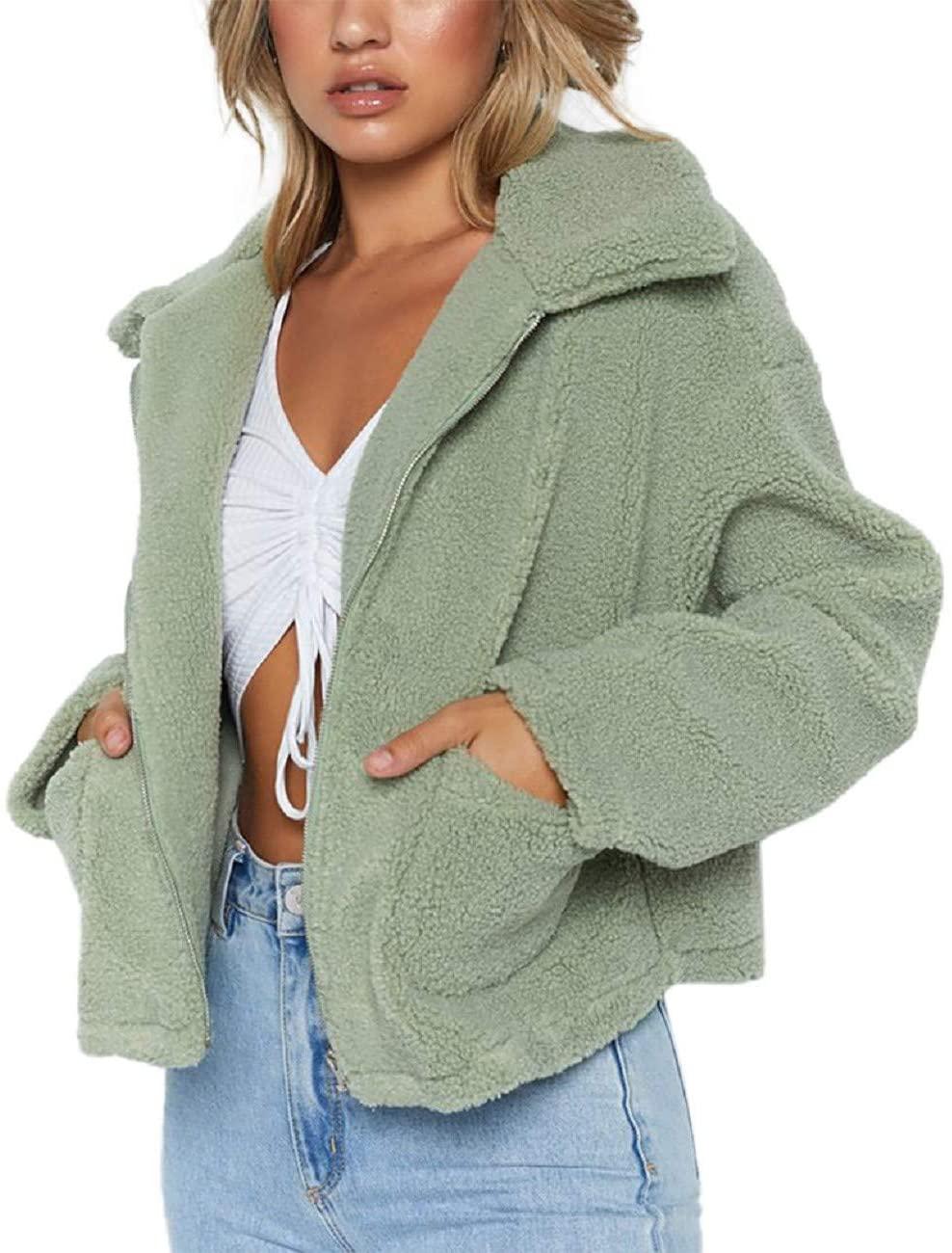 Tsmile Women Zip Up Jacket Fashion Solid Warm Fuzzy Wool Plus Size Long Sleeve Lapel Pocket Loose Fit Sherpa Coat