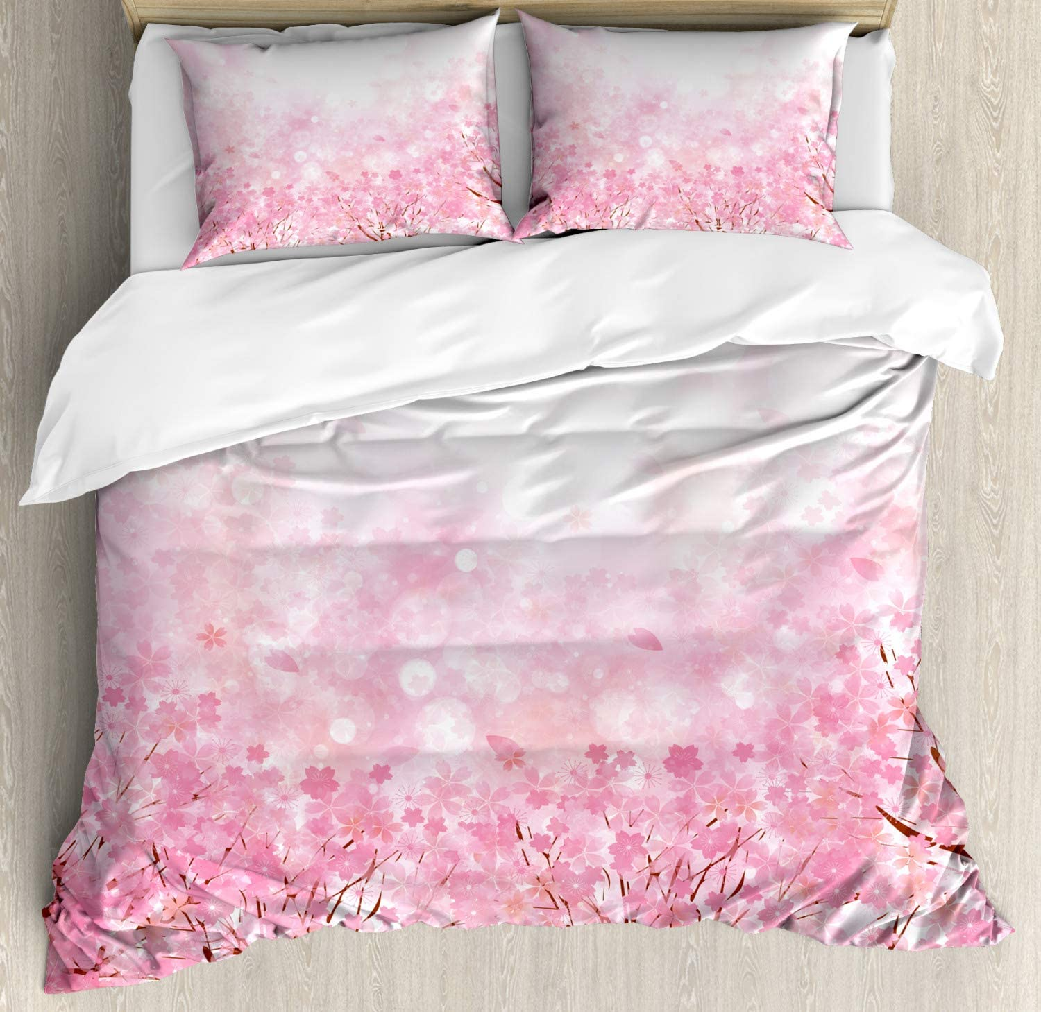 Ambesonne Pale Pink Duvet Cover Set, Japanese Cherry Blossom Sakura Tree with Romantic Influence Nature Theme, Decorative 3 Piece Bedding Set with 2 Pillow Shams, King Size, Baby Pink