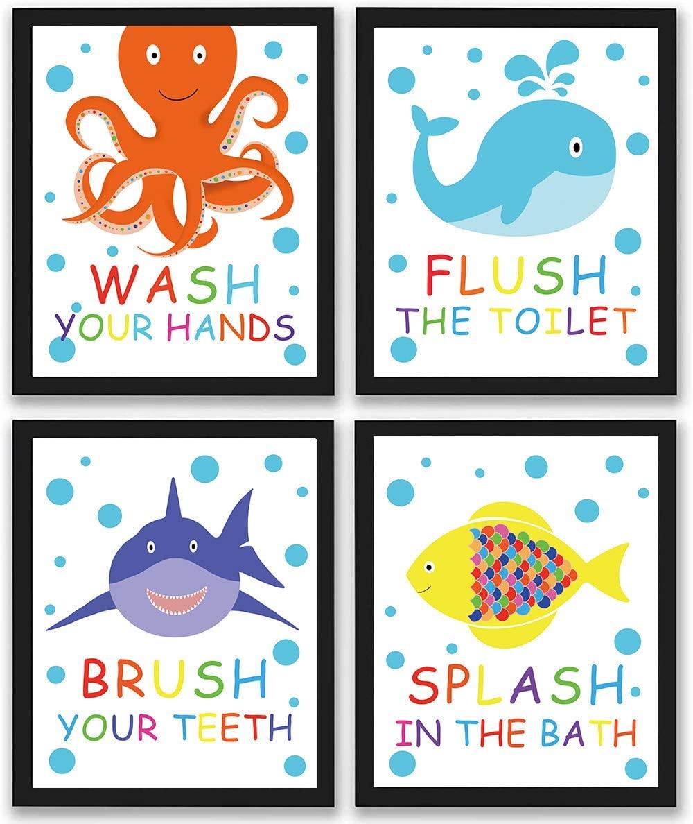 Black Framed Colorful Bathroom Animal Quote Art Print, Wash Splash Flush Brush Bathroom Sign Canvas Wall Art Printing, Octopus Fish Shark Whale for Bathroom Washroom Decoration (Framed,Set of 4, 8