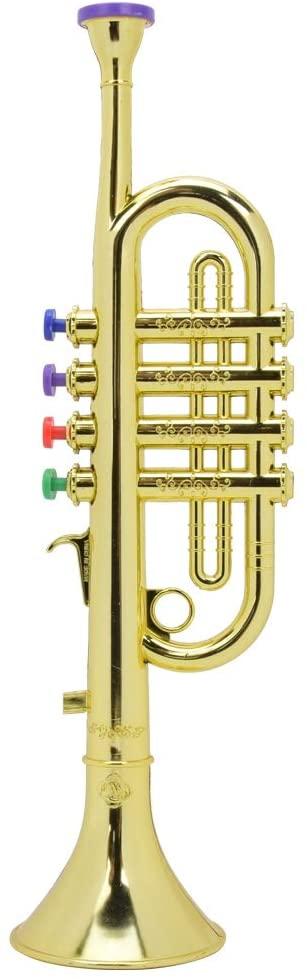 sjlerst Mini Plastic Horn Trumpet Musical Instrument Toy Education Kid Gifts Golden