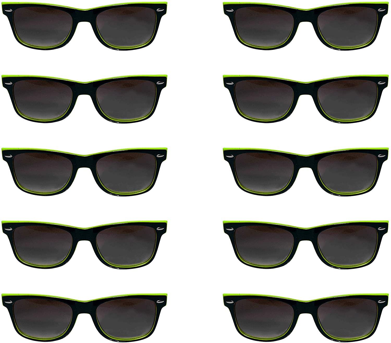 Monaco Sunglasses - 10 Pack - BlackLimeGreen