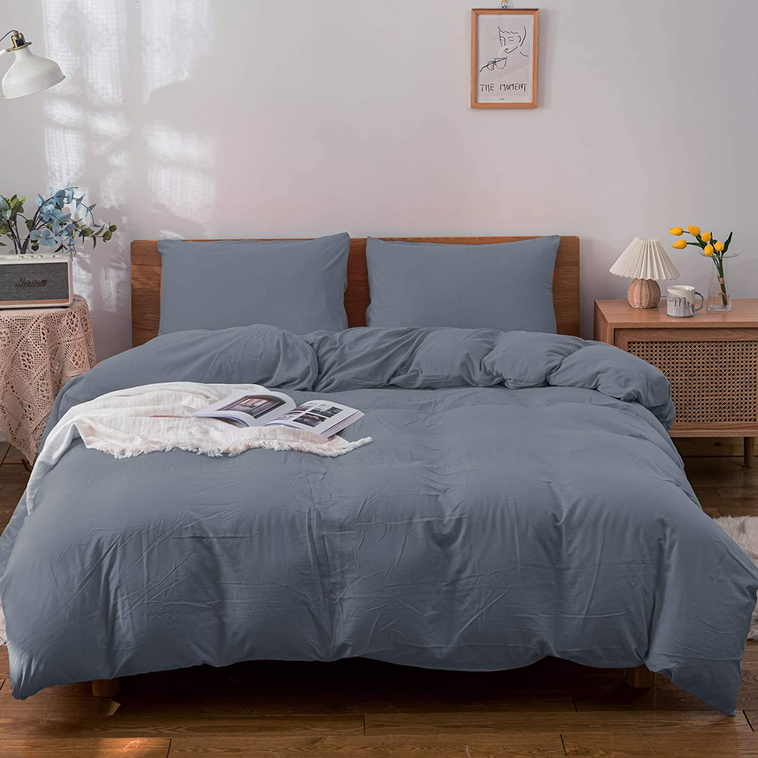 BEIBECOOL Washed Microfiber Duvet Cover Set 3 Pieces with Zipper Closure Corner Ties - Fade Stain Resistant Quilt Case Comforter Cover - Slight Wrinkled Bedding Queen Gray