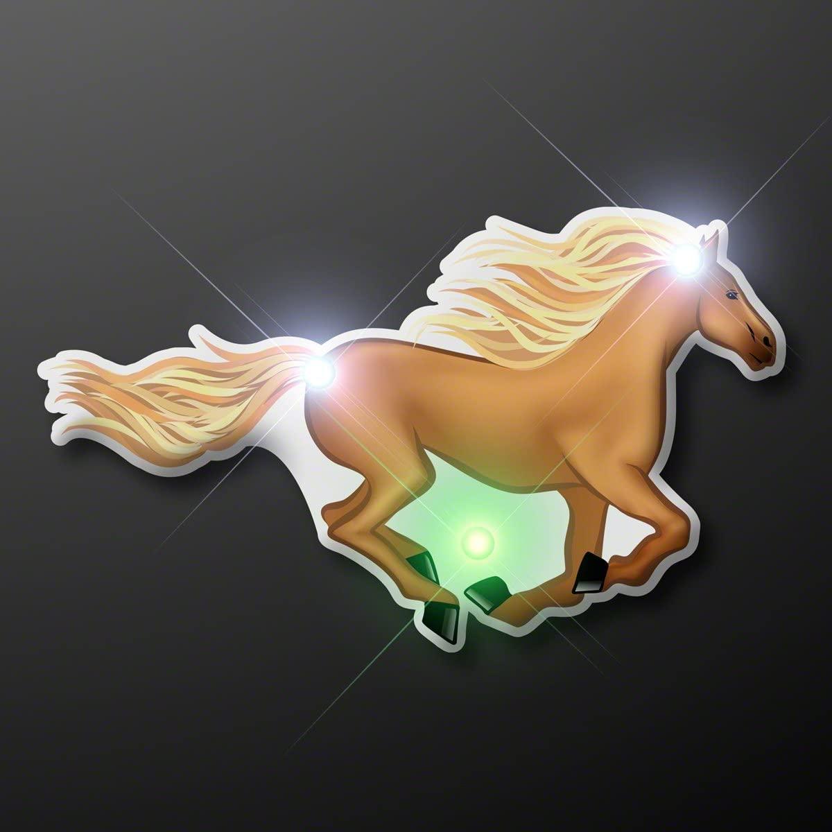 Light Up Horse Flashing Blinking LED Body Light Lapel Pin (5-Pack)