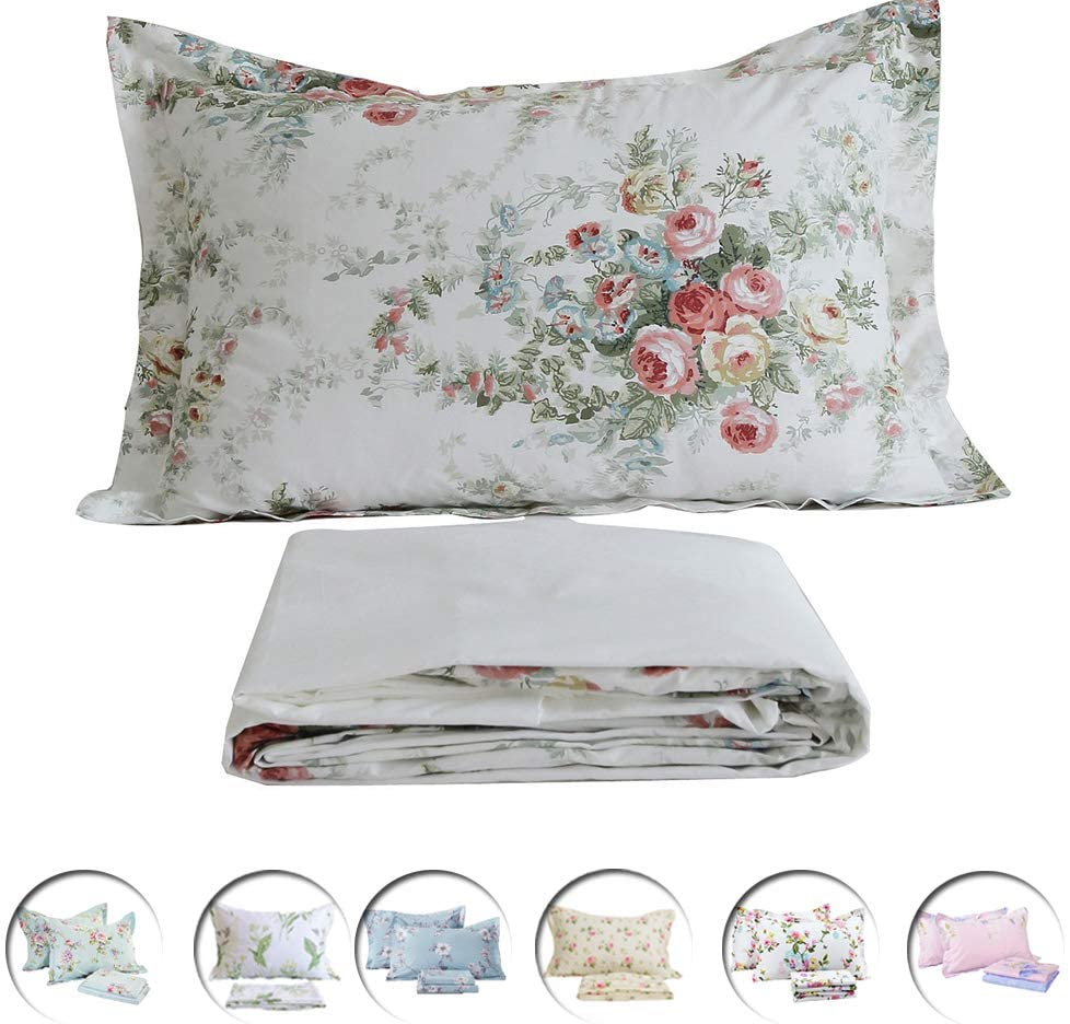 FADFAY Vintage Rose Floral Bed Sheet Set King Size Premium 100% Cotton Shabby Floral Hypoallergenic Chic White and Grey Deep Pocket Fitted Sheet 4-Pieces:1Flat Sheet,1 Fitted Sheet, 2 Pillowcase