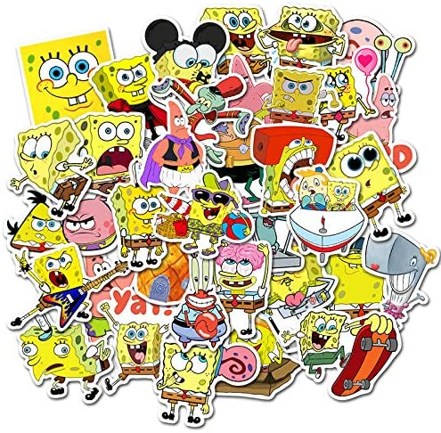 Sponge Stickers Pack of 50 Stickers for Laptops, Funny Merchandise Laptop Stickers for Laptops, Computers, Hydro Flasks, Skateboard and Travel Case