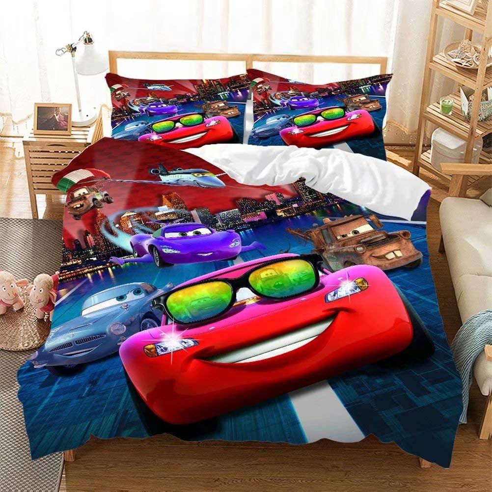 Racing Car Duvet Cover Sets for Boys Girls Lightning McQueen Bed Set Ultra Soft Microfiber Popular Cartoon Theme Kids Bedding Collection 3Piece (1Duvet Cover,2Pillowcases) Racing Car-5 King