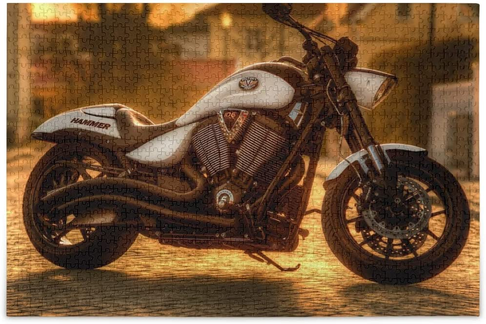 500 Piece Jigsaw Puzzle - (Motorcycle Under The Sunset), Jigsaw Puzzles 500 Pieces for Adults, Kids, Educational Intellectual Decompressing Toys & Fun Games for Kids, Adults