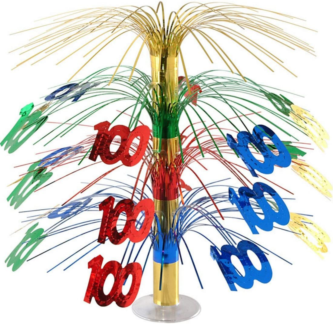 Beistle Pack of 6 Multi-Colored Happy 100th Birthday Party Cascading Table Centerpieces 18