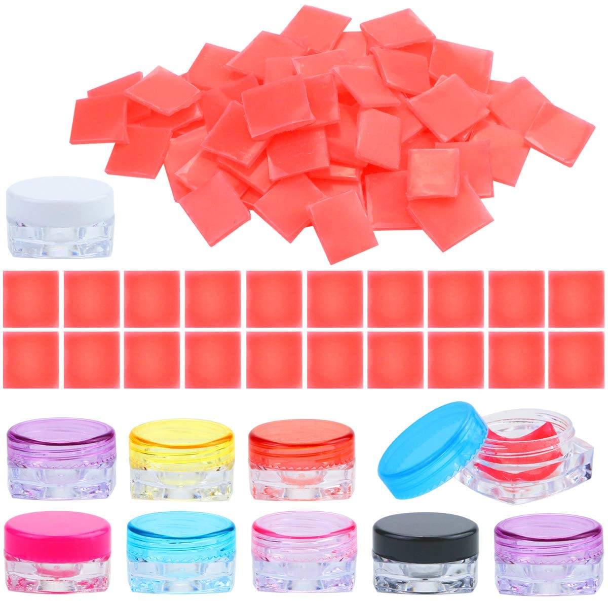 Wpxmer 100 Pieces DIY Diamond Painting Glue Clay Square, Diamond Painting Wax and 20 Pack Diamond Painting Storage Case for Diamond Painting Embroidery Accessories Supplies
