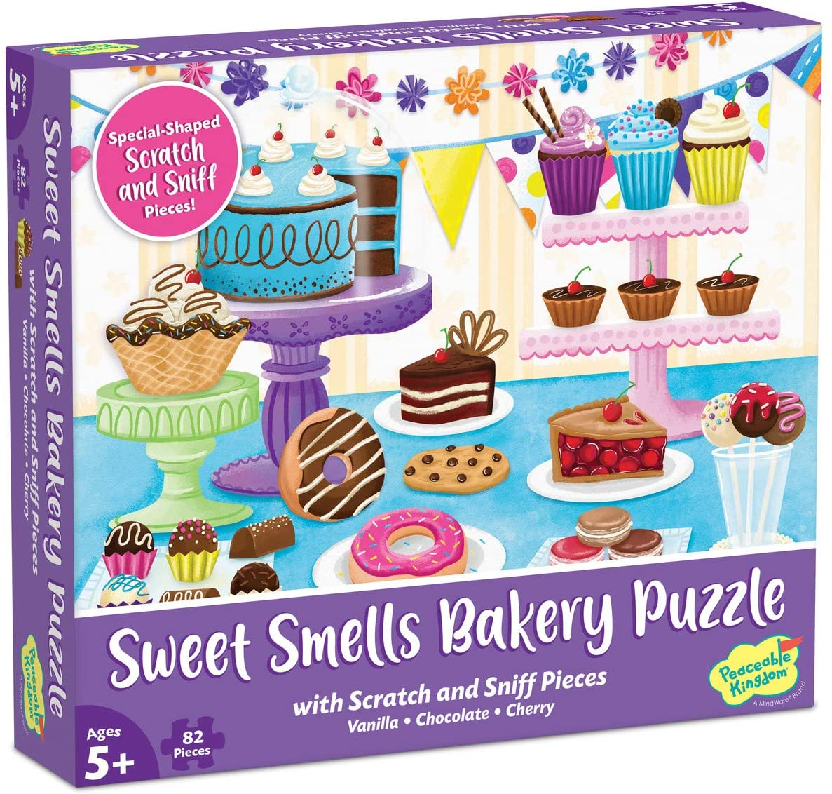 Peaceable Kingdom Scratch & Sniff Puzzles – Sweet Smells Bakery - 82pc Sensory Puzzle for Kids Ages 5 & up - Vanilla, Chocolate & Cherry scents - Great for classrooms